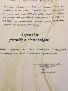 dokument potwierdzający wpis pierników kujawskich na LPT