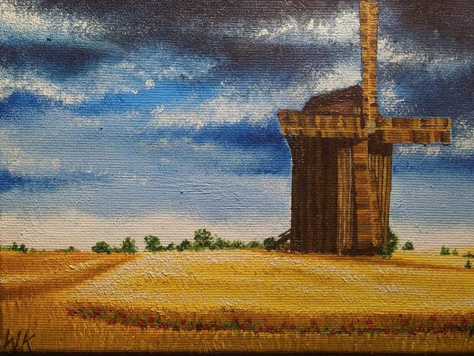 obraz wiatraka w Rogowie k. Rypina